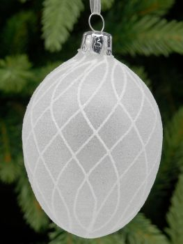 Frosted Glass Egg Bauble with White Criss Cross Pattern - 9cm