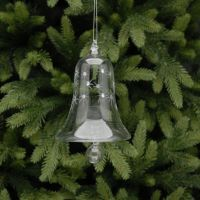 Clear Glass Bell Bauble with Stars & Diamantes - 10cm
