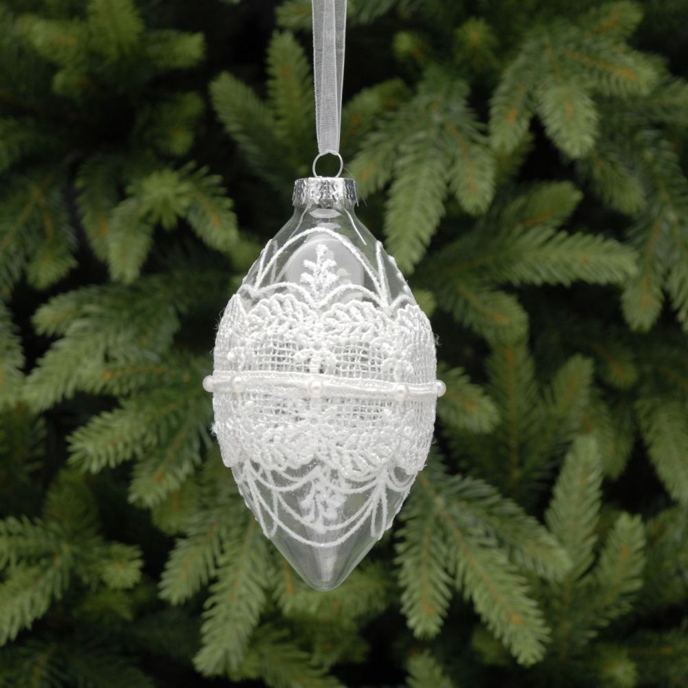 Clear Glass Drop Bauble with White Lace, Pearls & Glitter - 13cm not inc. o