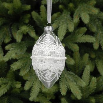 Clear Glass Drop Bauble with White Lace, Pearls & Glitter - 13cm not inc. organza hanger