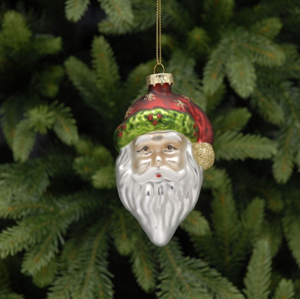 Glass Traditional Santa Head Bauble - 10cm