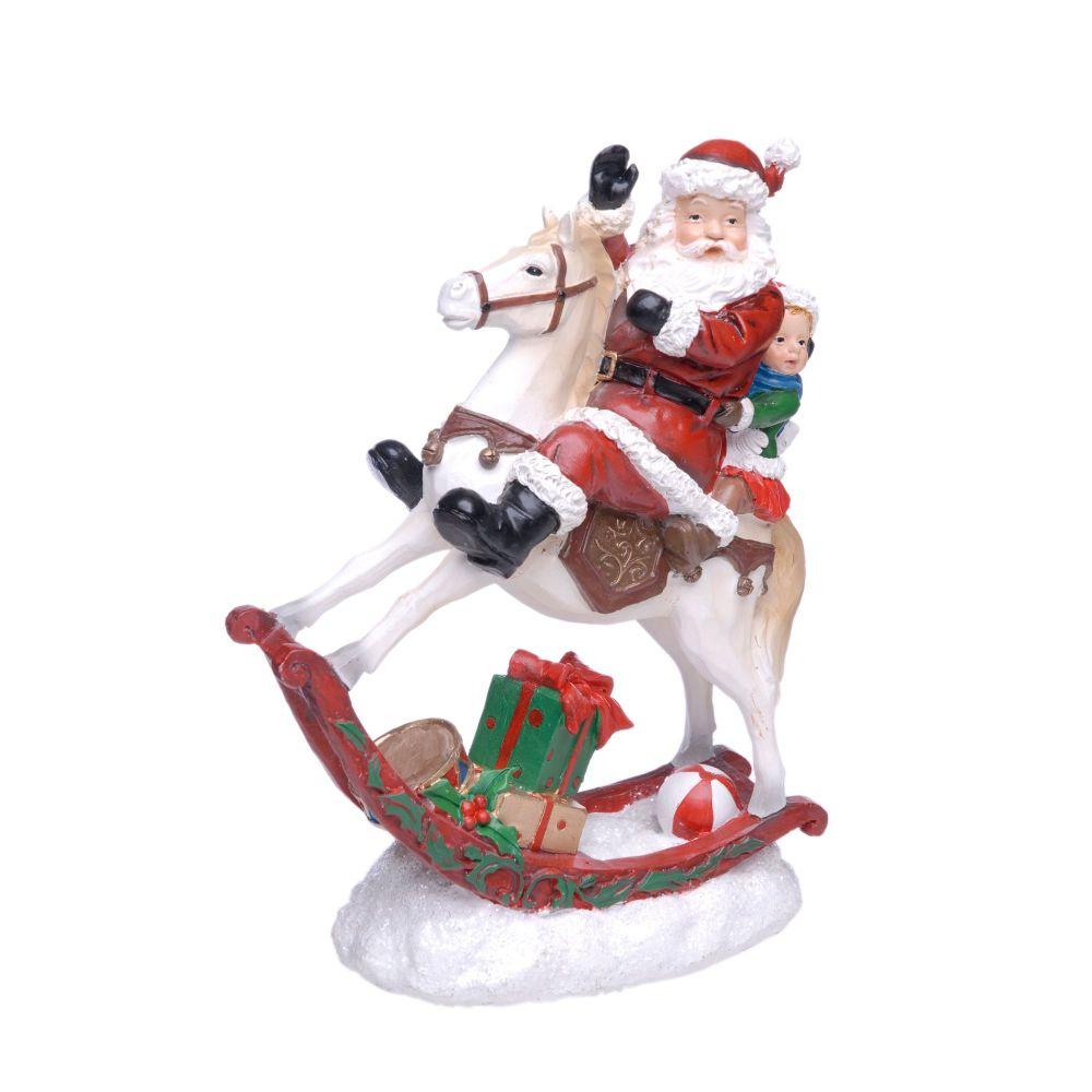 Beautiful Jolly Santa on a Rocking Horse - 23cm tall x 18cm wide x 8cm deep