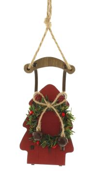 Red Rustic Wooden Sleigh Hanging Bauble with Wreath and a Christmas Bell - 14.5cm tall x 7.5cm wide x 3cm deep