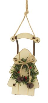 White Rustic Wooden Sleigh Hanging Bauble with Wreath and a Christmas Bell - 14.5cm tall x 7.5cm wide x 3cm deep