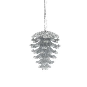 Silver Glitter Pinecone Bauble with hanger - 8cm tall