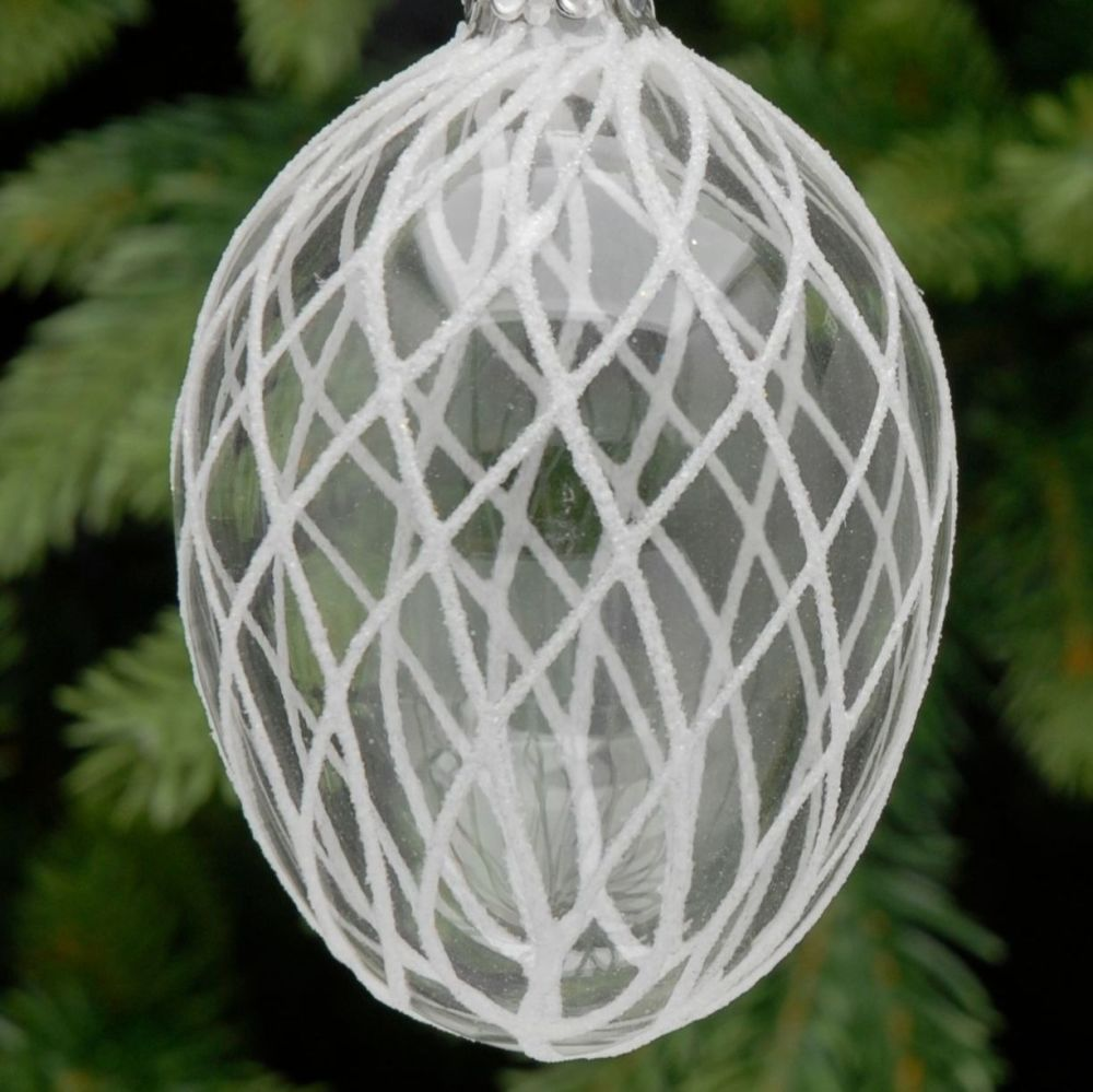 Clear Glass Egg Bauble with White Criss Cross Pattern - 9cm