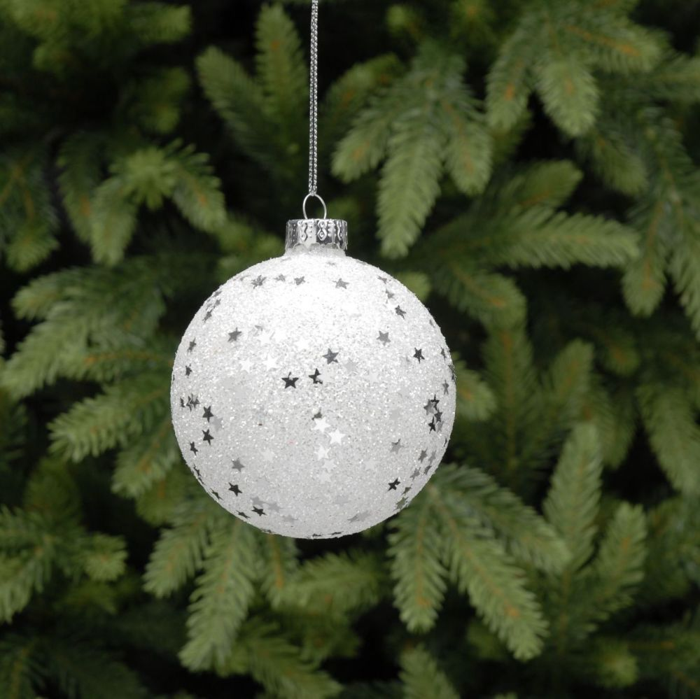 A Beautiful White Snowflake Bauble adorned with Silver Stars and Glitter, a