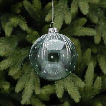 Glass Blue bauble with Silver Glitter finish -  8cm