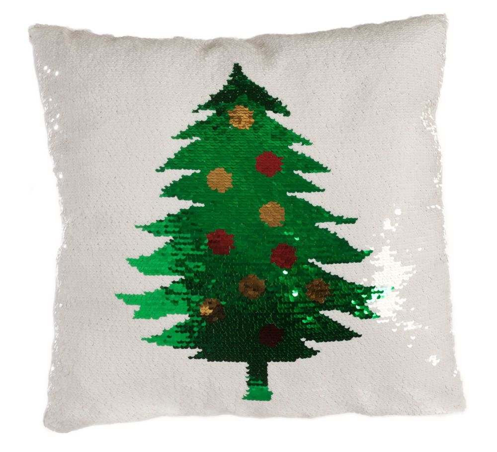 Fun White Sequined Christmas Tree Cushion - 40cm x 40cm x 13cm