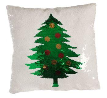 Fun White Sequined Christmas Tree Cushion - 40cm x 40cm x 13cm