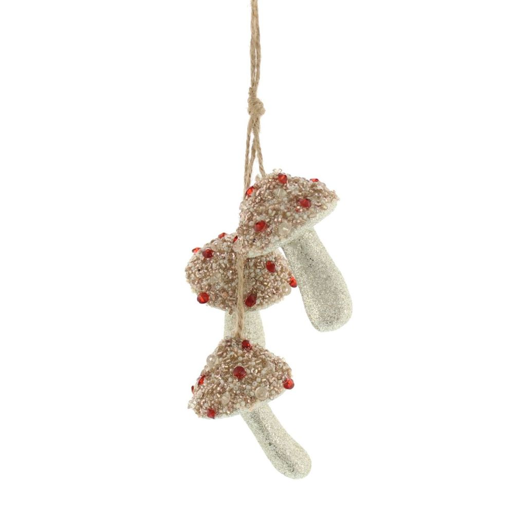 Bejeweled Rustic Three Woodland Mushroom Hanging Bauble