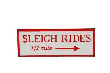 Large Metal Sleigh Rides hanging sign