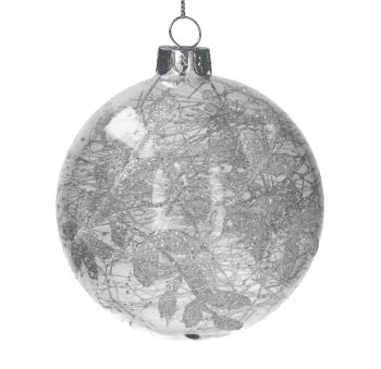 Clear Glass Bauble with Silver & White Leaf Design - 8cm