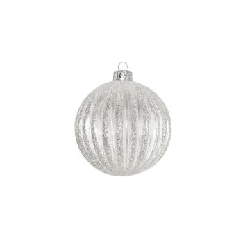 Glass Ribbed Bauble with Silver Glitter - 8cm
