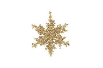 Gold Glitter Snowflake Bauble - 16cm x 16cm