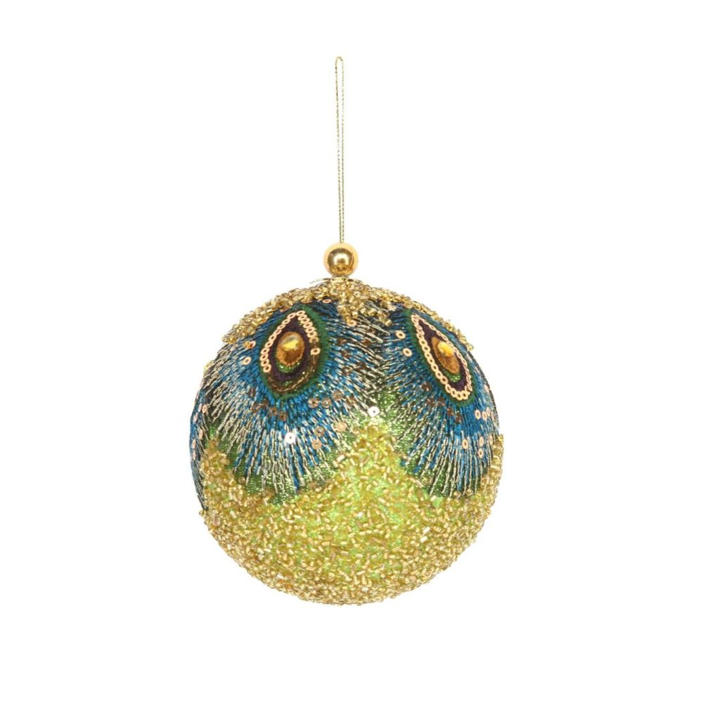 Bejeweled & Sequined Peacock Feather Design Bauble - 10cm