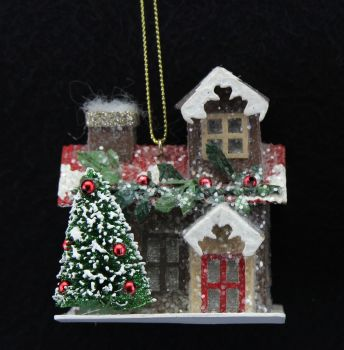 Christmas Cottage Bauble - 7.5cm tall x 6.5cm wide x 6.5cm deep