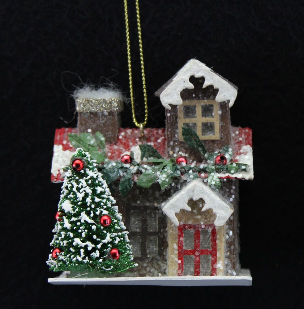 Christmas Cottage Bauble - 7.5cm tall x 6.5cm wide x 6.5cm deep