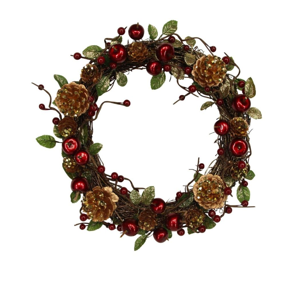 Rustic Woodland Berry Door Wreath - 28cm Diameter