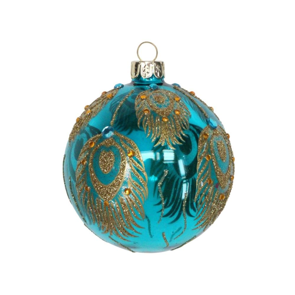 Peacock Blue Glass Bauble - 8cm