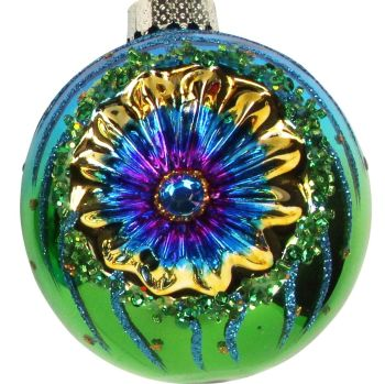 Round Glass Peacock Blue Glitter Bauble in a Retro 70's Style - 8cm