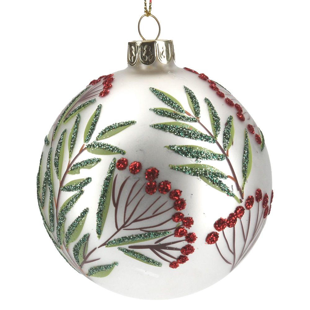 White Silver Glass Bauble with Green Leaf and Red Berries - 8cm