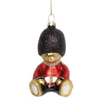 The Queens Guard Teddy Glass Bauble - 10cm