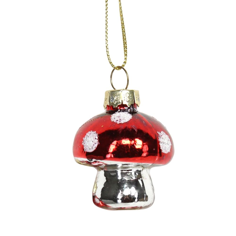 Red Glass Mushroom Bauble - 4cm