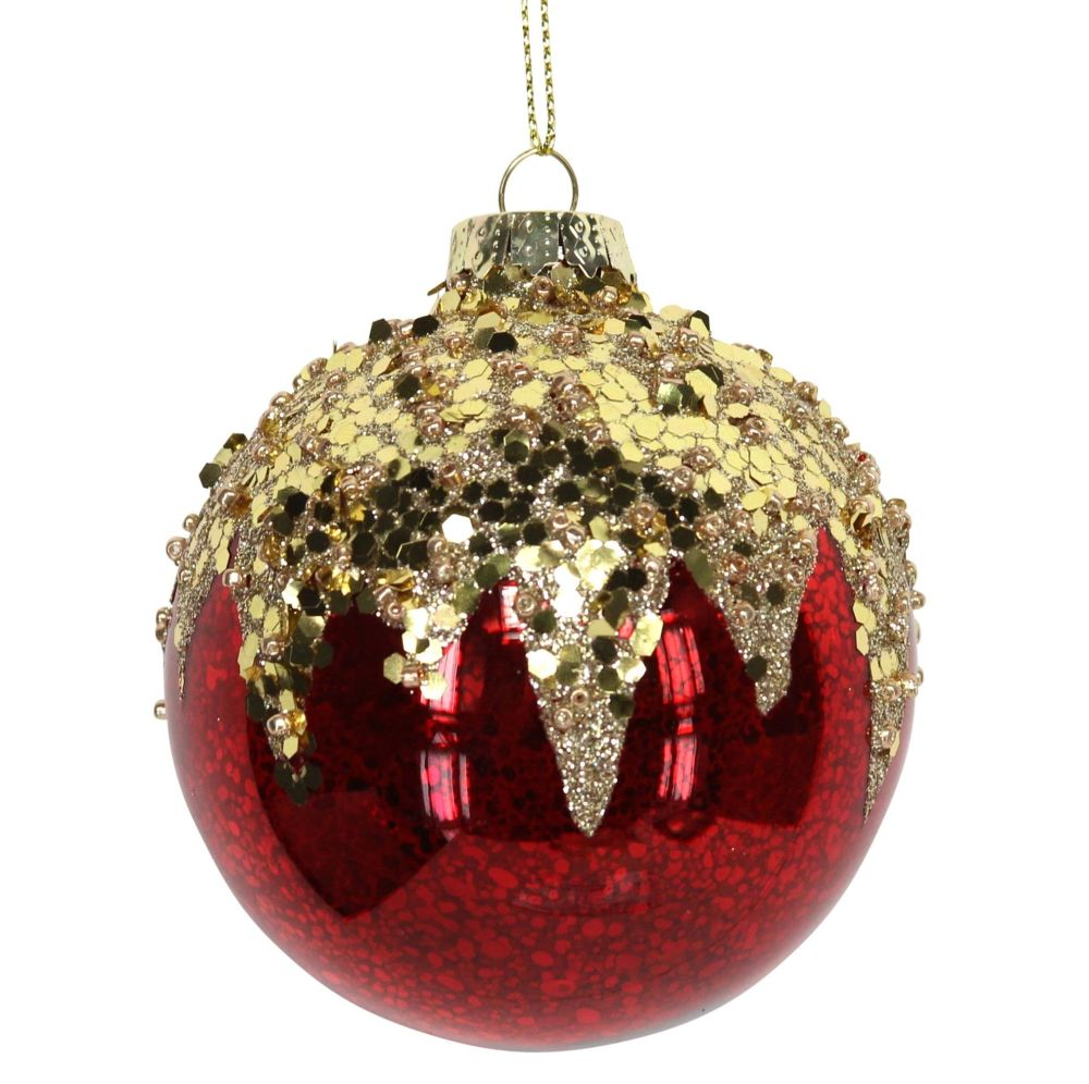 Red & Gold Glass Bauble - 8cm