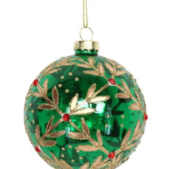 Green Glass Leaf Beaded Bauble - 8cm