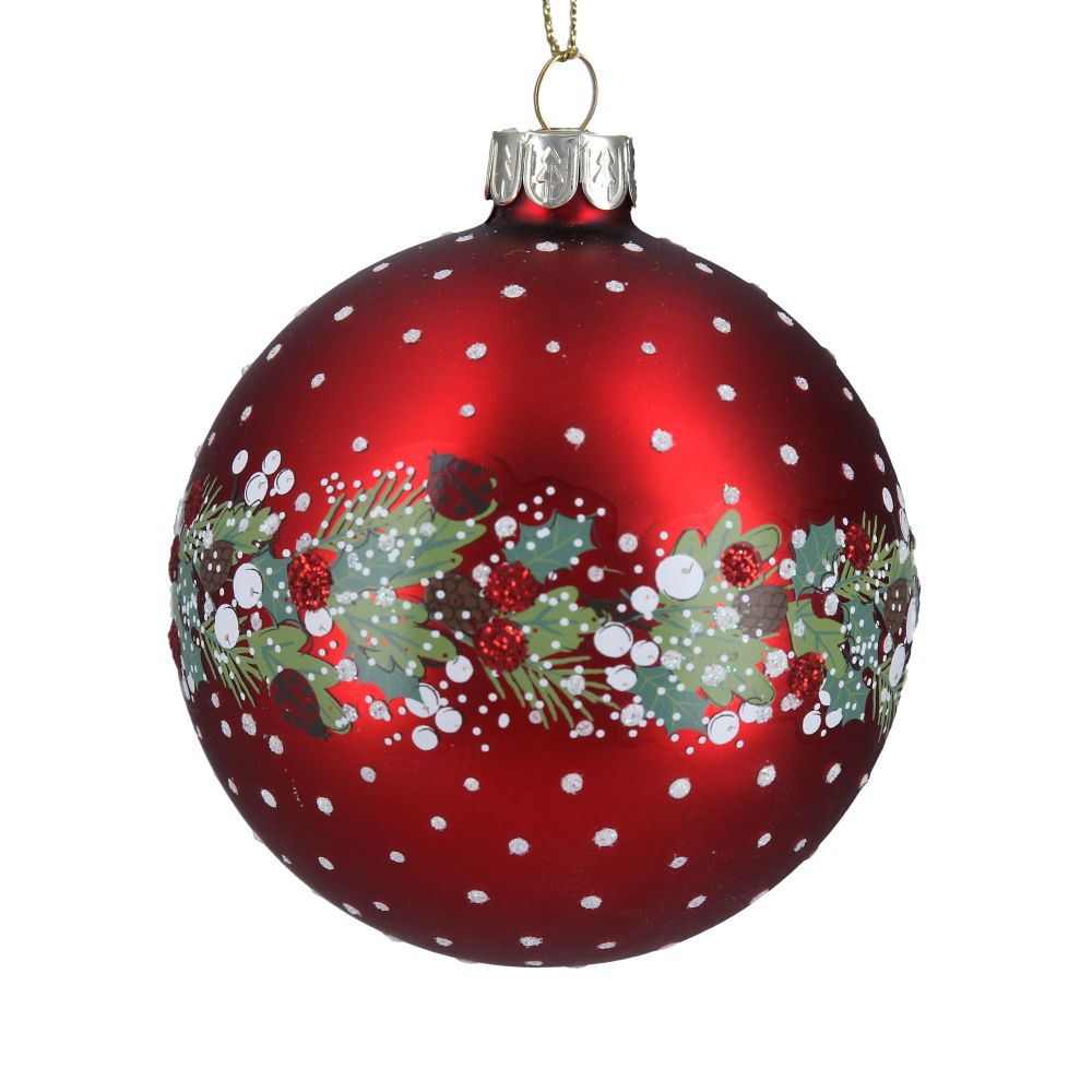 Red Glass Bauble with Green Leaf and Red Berries - 8cm