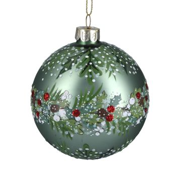 Green Glass Bauble with Green Leaf and Red Berries - 8cm