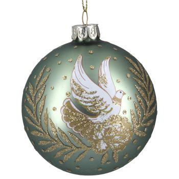 Green Glass Bauble with Doves & Gold Leaf - 8cm