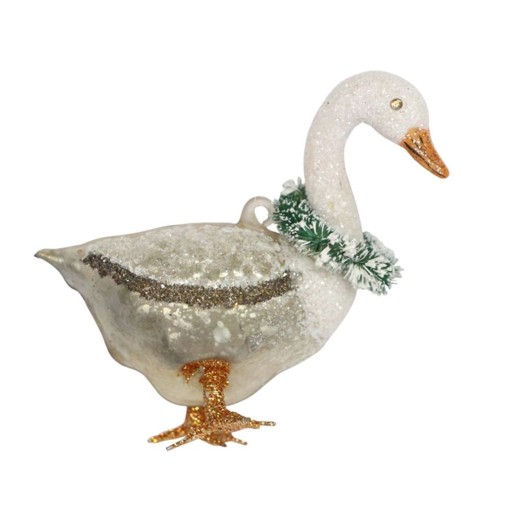 A Beautiful Glass Christmas Goose Bauble - 10cm tall x 9.5 long x 4.5cm dee