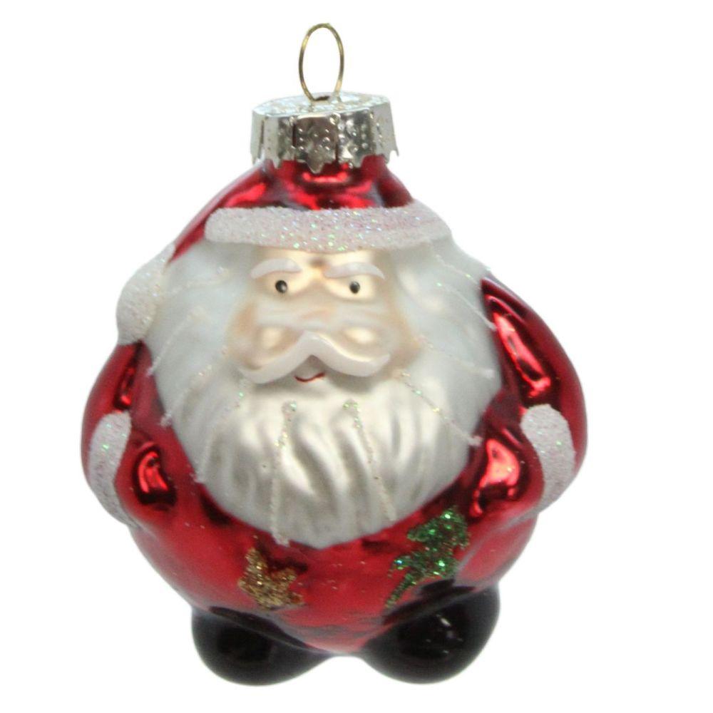 Fun Glass Santa Bauble - 6cm diameter