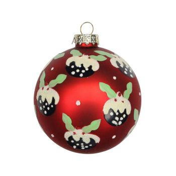 Red Glass Christmas Pudding Bauble - 8cm