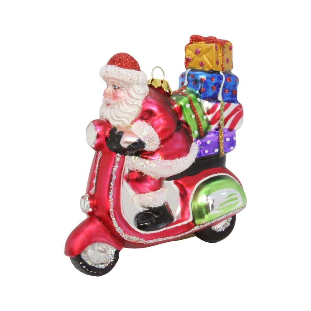 Fun Glass Santa on a Moped Bauble - 11cm tall x 12cm long x 5cm wide