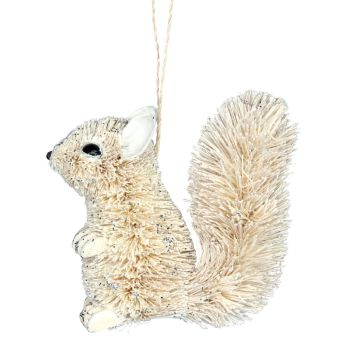 Rustic Bristle Squirrel Bauble - 11cm tall x 10cm wide x 5cm deep