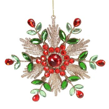 Green, Red & Gold Glitter Jewelled Snowflake Bauble - 15cm x 15cm