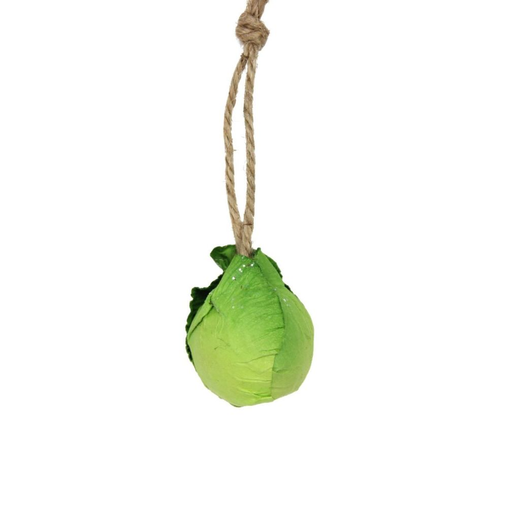 Fun Paper Green Brussel Sprout Bauble - 6cm diameter
