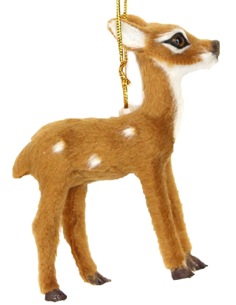 Gorgeous Brown Bambi Reindeer Bauble - 10cm tall x 8.5cm wide x 2.5cm deep.
