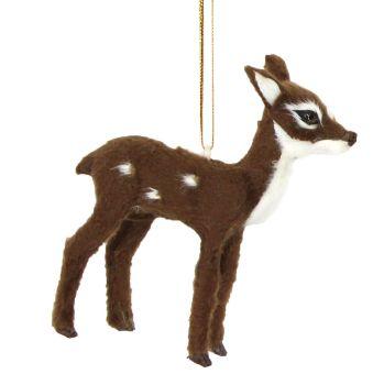 Gorgeous Dark Brown Bambi Reindeer Bauble - 10cm tall x 8.5cm wide x 2.5cm deep.