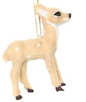 Gorgeous Light Brown Bambi Reindeer Bauble - 10cm tall x 8.5cm wide x 2.5cm deep.
