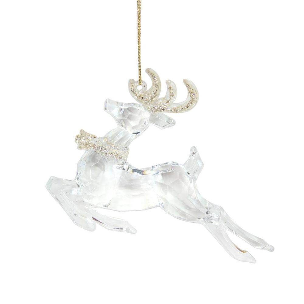 Clear Acrylic Prancing Reindeer - 9cm tall x 12cm long