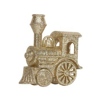Gold Glitter Steam Train - 9.5cm tall x 8.5cm long x 3.5cm wide