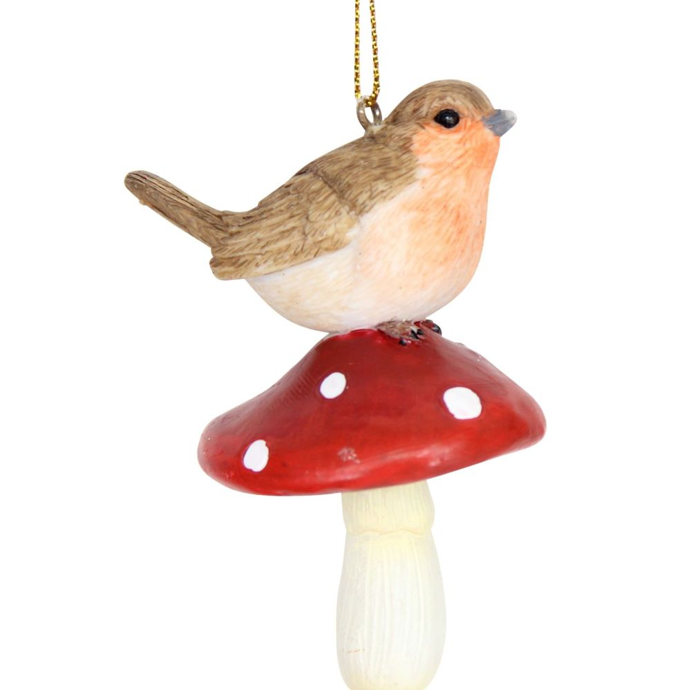 Robin Red Breast Bauble sitting on a Toadstool - 8cm tall x 5cm long x 4cm
