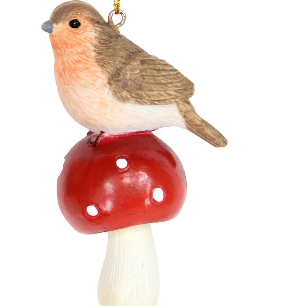 Robin Red Breast Bauble sitting on a Mushroom - 8cm tall x 5cm long x 3.5cm