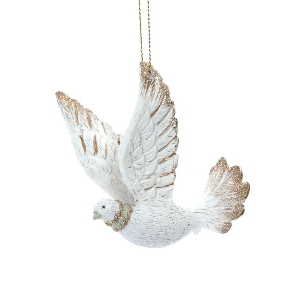 White & Gold Glittered Dove Bauble - 7.5cm tall x 6cm long x 4.5cm deep