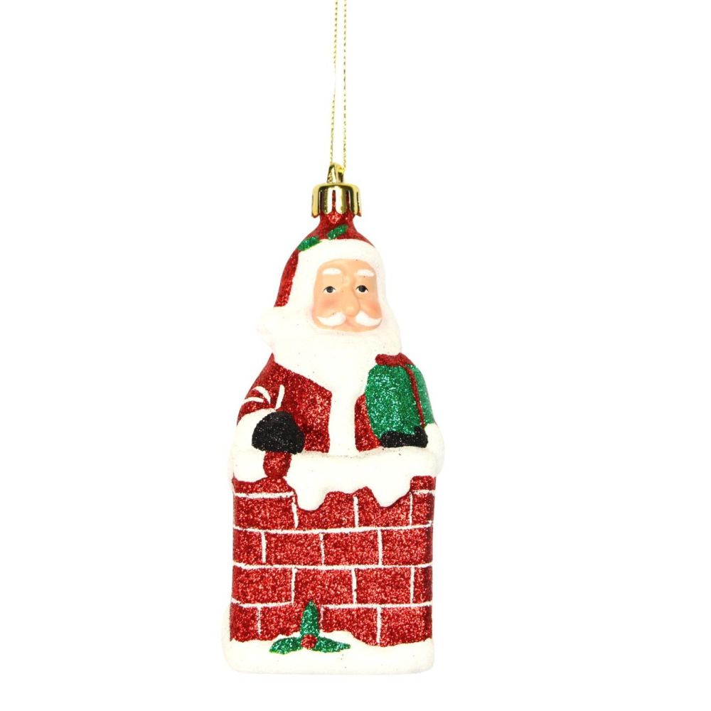 Fun Santa in Chimney Bauble - 13cm tall x 5.5cm wide x 5.5cm deep