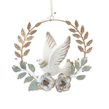 White & Gold Glittered Dove Bauble - 12cm diameter